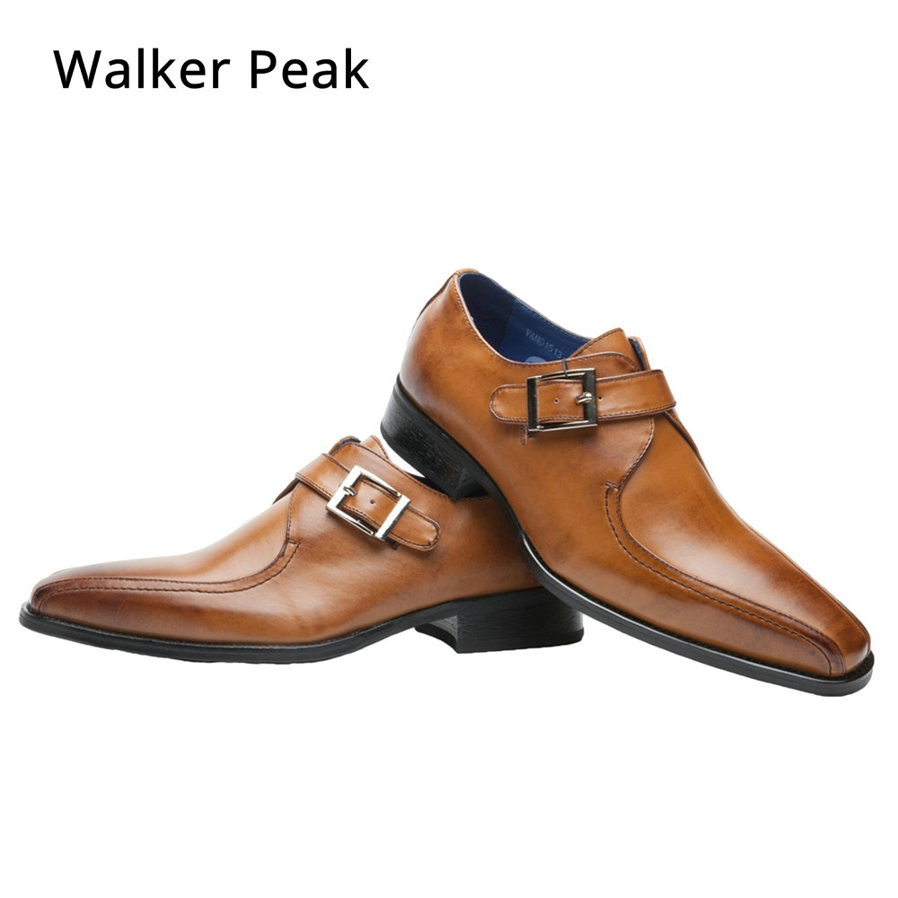 Men Business Dress Shoes Fashion Slip On Flats Genuine Leather Formal Office Loafers Party Wedding Oxfords Shoes Male WalkerPeak цены онлайн