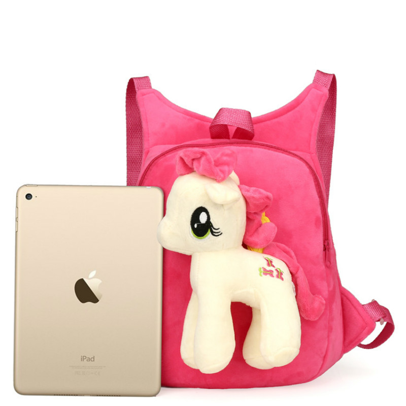 Cute-Soft-Cartoon-Kindergarten-Children-Plush-Backpack-Pony-Plush-Toy-Preschool-Baby-Bag-Gift-for-Kids-1-5-Years-Old-1pc-4