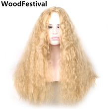 perm corn wig 70 cm synthetic african american wigs women hair wigs heat resistant long curly wig blonde fluffy WoodFestival side parting fluffy long curly synthetic wig