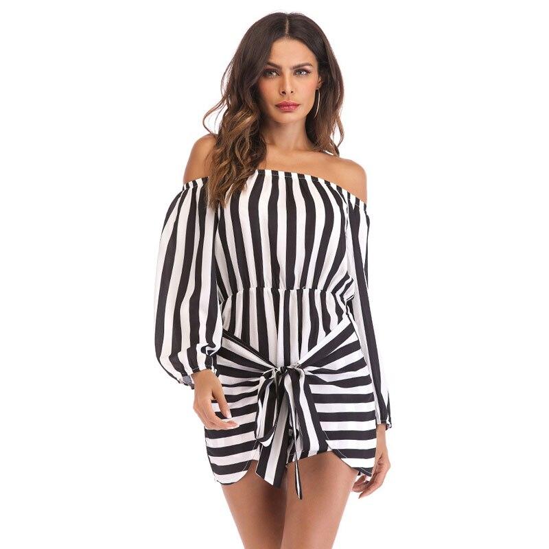 Stripe Jumpsuit Romper Women Sexy Off Shoulder Overalls Summer Beach Long Sleeve Short Playsuit Strapless Plus Size 2XL Jumpsuit