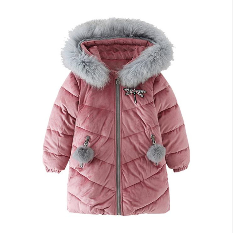 2018 Winter Baby Girls Cotton Coat Children Long Fur Hooded Jacket Kids Silk Velvet Fleece Outerwear Girl Thick Warm Windbreaker children s clothing girls winter down jacket 2018 baby kids long fur hooded thick outerwear toddler girl warm padded cotton coat