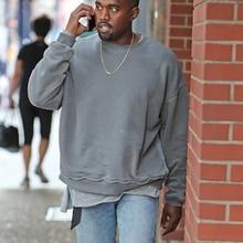 Streetwear Solid Color OVERSIZE Loose Hoodie Kanye West Washed Distressed Falling Shoulder BF Style Hoodie Hiphop Urban Clothing