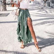 Simplee เซ็กซี่ ruffles Casual ผู้หญิงกางเกง Capri สูงเอวกระโปรงแยกกางเกงฤดูร้อนหญิงหญิงกว้างขากางเกงด้านล่าง 2019