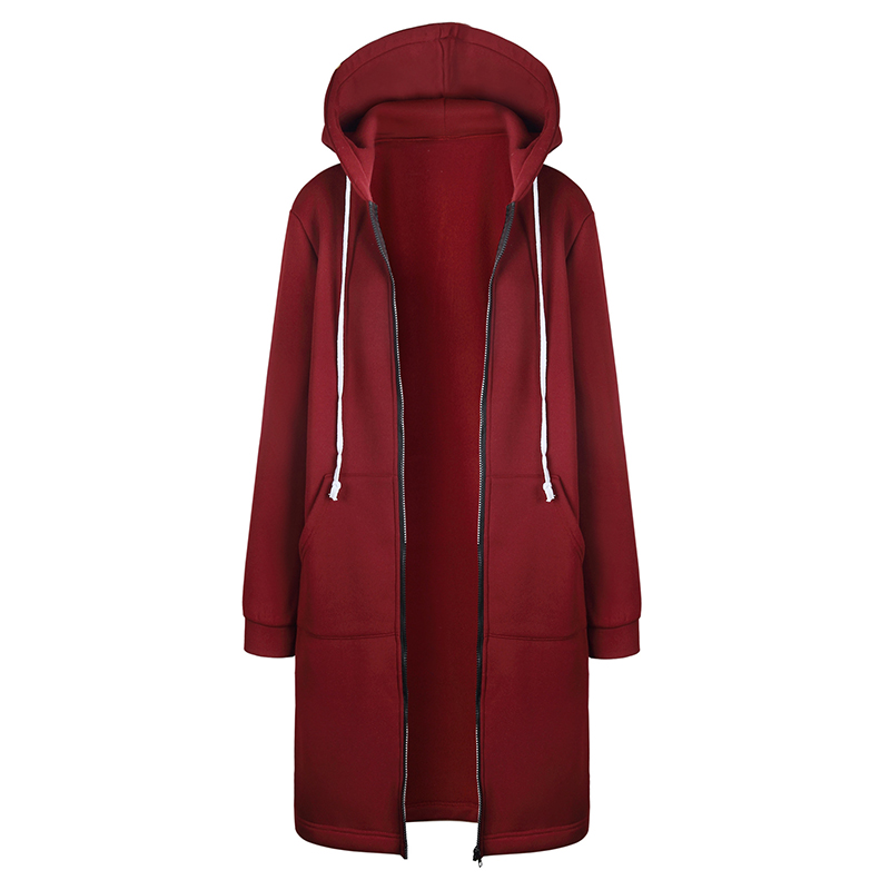 Hoodies Women Sweatshirt Thicken Hooded Zip Jacket Promotion Long Solid Color Hat Vestidos Stranger Things Dropshipping OYM0581