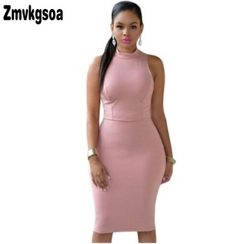 Zmvkgsoa New 2018 Summer Fashion Women Working Elegant Dress Cutout Back Turtle Neck Ladies Midi Dresses Vestidos Verano A60466