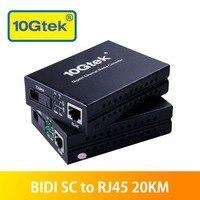 A pair of 20KM SC to RJ45 Gigabit Ethernet Fiber Media Converters, Optical Transceivers Bi Directional Single mode SC fiber