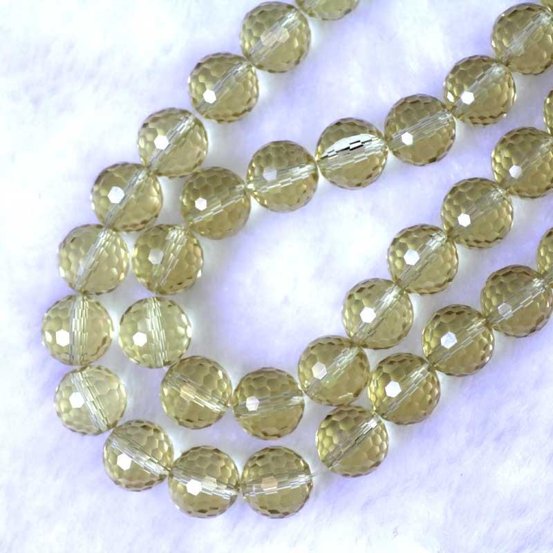 100 Perles Verre Crystal Facette Blanc Boule 6mm