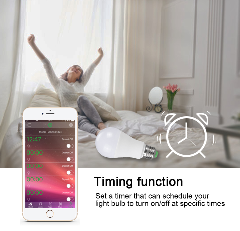 15W 20W 85-265V  RGBW LED Light Bulb Music Control 20 Modes Apply to IOS Android (9)