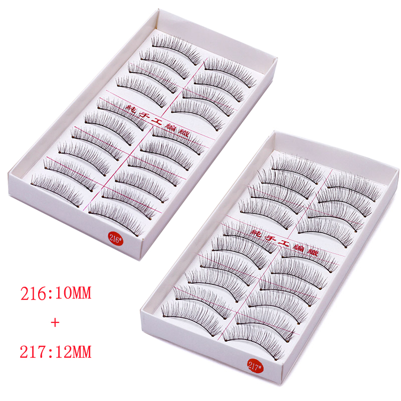 10 pairs *2 false eyelashes 1cm-1.5cm hand made Full Strip Lashes natural long snthetic hair plastic cotton stalk Free shipping ...