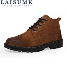 LAISUMK Men High Quality Genuine Leather Boots Autumn Winter Ankle Vintage Shoes