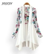 4 style 2017 women print blouse women cardigan chiffon shirt femal plus size irregular style lady summer sunscreen coat  JN226