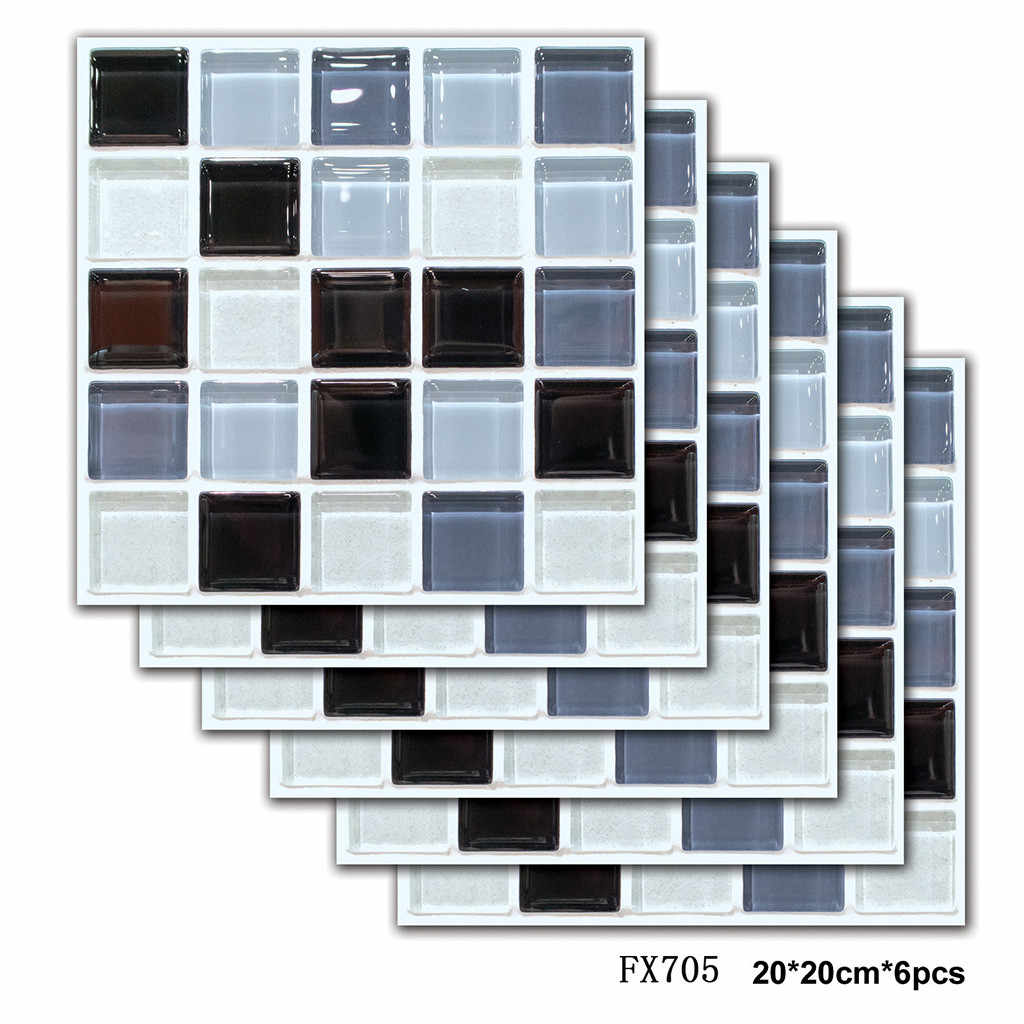 6Pcs 3D Self Adhesive Square Tile Floor Wall Sticker Mosaic Decal Home Decor