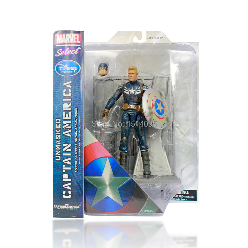 "7"" 18CM Marvel Select <font><b>Captain</b></font> <font><b>America</b></font> The <font><b>Winter</b></font> <font><b>Soldier</b></font> PVC Action <font><b>Figure</b></font> Collectible Model Toy CA104"