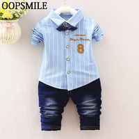 Spring Autumn Baby Boys Clothes Bebes Suits Infant Newborn Clothes Sets Kids Jeans Striped Shirt Jeans