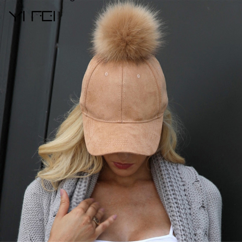 Winter Pompom Pink Suede   Baseball     Cap   Women Autumn Streetwear Black   Cap   2018 Fashion Elegant Female Hat Hip Hop   Cap