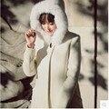 Бесплатная Доставка 2017 новых прибыть дамской одежды Шерсть solid белый тонкий вскользь шерсть галстук шляпа зима смеси верхняя одежда пальто P0482