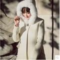 O Envio gratuito de 2017 chegam novas moda feminina Misturas De Lã sólida white slim casual gravata de lã chapéu do inverno combina outerwear casacos P0482