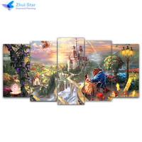 Zhui Star 5d Diy Diamond Embroidery Beauty Beast 5pcs Multi Picture Combination Diamond Painting Cross Stitch