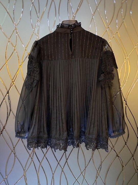 Dans Noir À Pur Jacket1220 L'eau Manches 100 Col Décoré Fleur Soluble Couture Longues blanc De cravate couleur Auriculaire Avec 2019 SpRU1qxnx