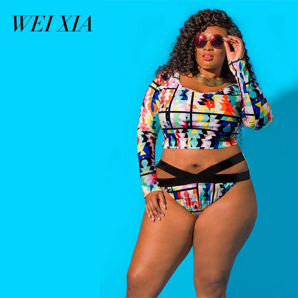 WEIXIA 2018 BIG Size Sexy One Piece Totem Swimsuit 8016 Women Print Bodysuit Bandage Swimwear New Sexy Bikinis