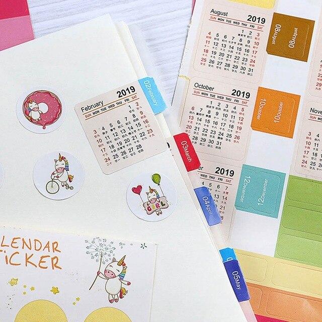 2019 Año Calendario tiempo DIY pegatinas decorativas papelería estudiante diario pegatinas para diario planificador cuaderno conjunto