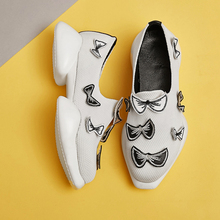 Женская Платформа Квартиры Esparilles Бренд Дизайнер Сладкий Бабочкой Скольжения на Натуральной Кожи Лоскутное Дышащий Досуг Обувь