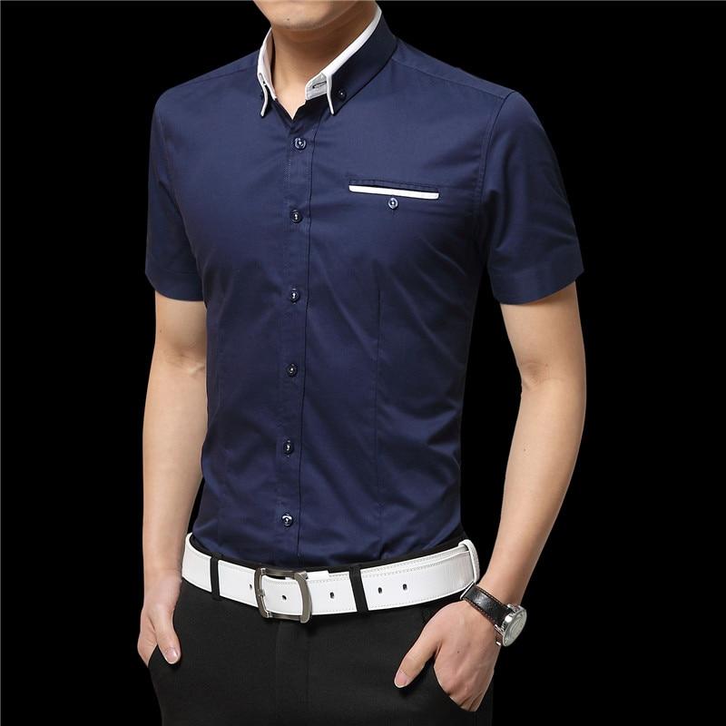 2019 sommer Männer Kurze Hemden Casual Shirts Hemden Feste Hemden - Herrenbekleidung - Foto 6