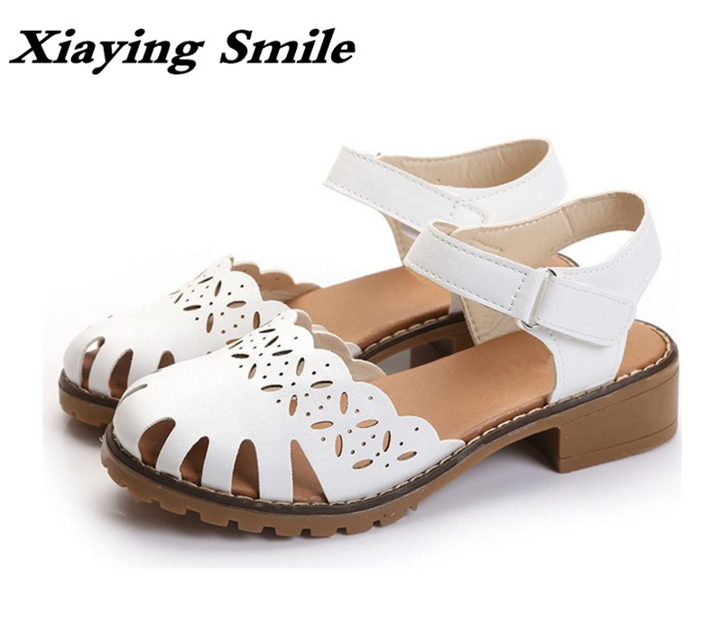Xiaying Smile Summer New Woman Sandals Casual Fashion Women Shoes Pumps Low Square Heel Solid Loop Hollow Student Mother Shoes xiaying smile summer woman sandals square cover heel woman pumps buckle strap fashion casual flower flock student women shoes