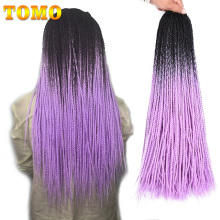 TOMO 24Inch 30Roots Small Crochet Braids Hair Senegalese Twist Ombre Synthetic Colored Braiding Hair Extensions Crochet Hair
