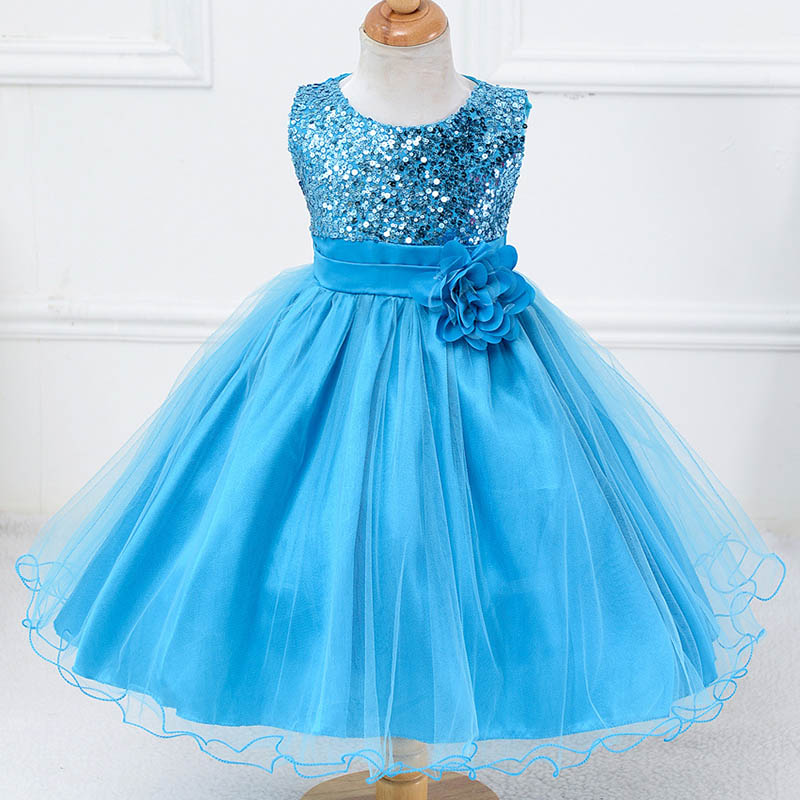 Summer children clothing Girls party Dresses Lace Sequins Evening Wedding Gown Tutu Princess Dress Flower for baby Girls Clothes 2016 new summer girls kids rose flower princess sleeveless party elegant tutu lace dress cute baby clothes children clothing