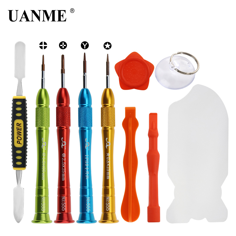 UANME 10in1 Disassemble Pry Screwdriver Repair Tools Set For iPhone 8 7 6S 6 5 5S SE 4S Sam sung Opening Repair Tool Kits
