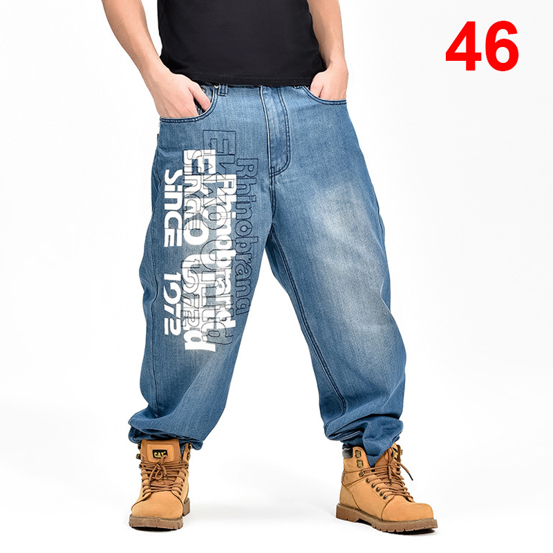 Baggy   Jeans   Men Denim Pants Loose Streetwear   Jeans   Hip Hop Casual Letter Print Skateboard Pants for Men Plus Size Trousers S098