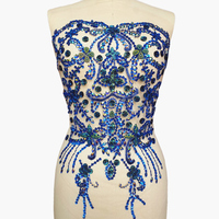 Bi.Dw.M Beaded 38x56cm Royal Blue Rhinestone Crystal Trim Sewing Applique Patches For Sew On Wedding Decoration Dresses Costumes