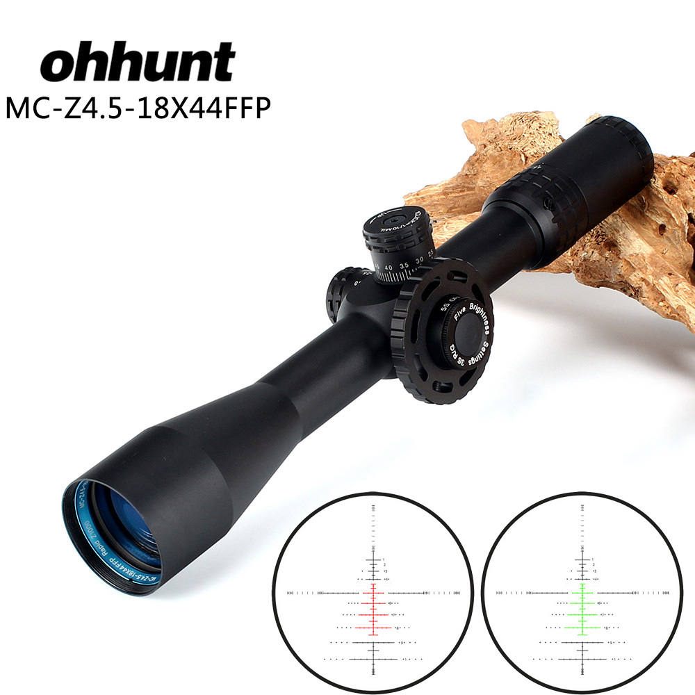 ohhunt MC-Z 4.5-18X44 FFP Optical Sight Glass Etched Reticle Hunting Riflescope Turrets Lock Reset Side Wheel Focus Rifle Scope marcool 6 24x50 sfirgl ffp side focus hunting optical sight for rifles free scope rings mount