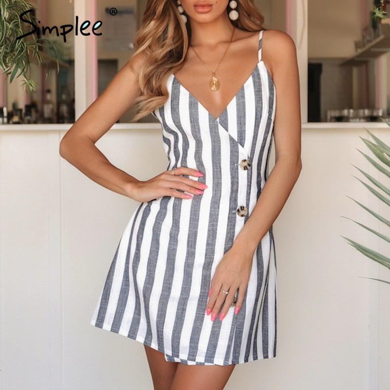 Просто, элегантно льняное женское летнее платье с v-образным вырезом и пуговицами, сексуальное летнее платье на тонких бретельках, женские в...
