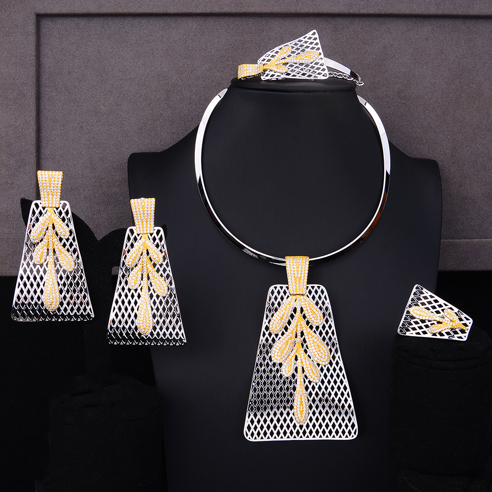 SisCathy African Indian Dubai Bridal Wedding Luxury Statement Jewelry Sets 4PCS Trendy Cubic Zircon Jewelry Sets For Women