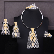 SisCathy African Indian Dubai Bridal Wedding Luxury Statement Jewelry Sets 4PCS Trendy Cubic Zircon For Women