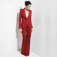 Ivory Women Tuxedos Shawl Lapel Female Trouser Suit Ladies Office Uniform Elegant Pant Suits One Button Women Business Suits