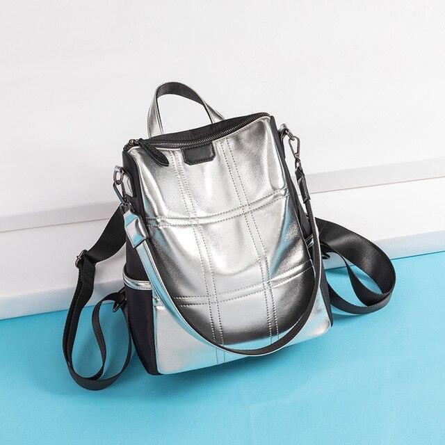 Bagaj ve Çantalar'ten Sırt Çantaları'de 2019 yaz marka yeni yüksek kalite gümüş PU deri bayan sırt çantası Çok geri su geçirmez büyük kapasiteli dayanıklı omuzdan askili çanta'da  Grup 3