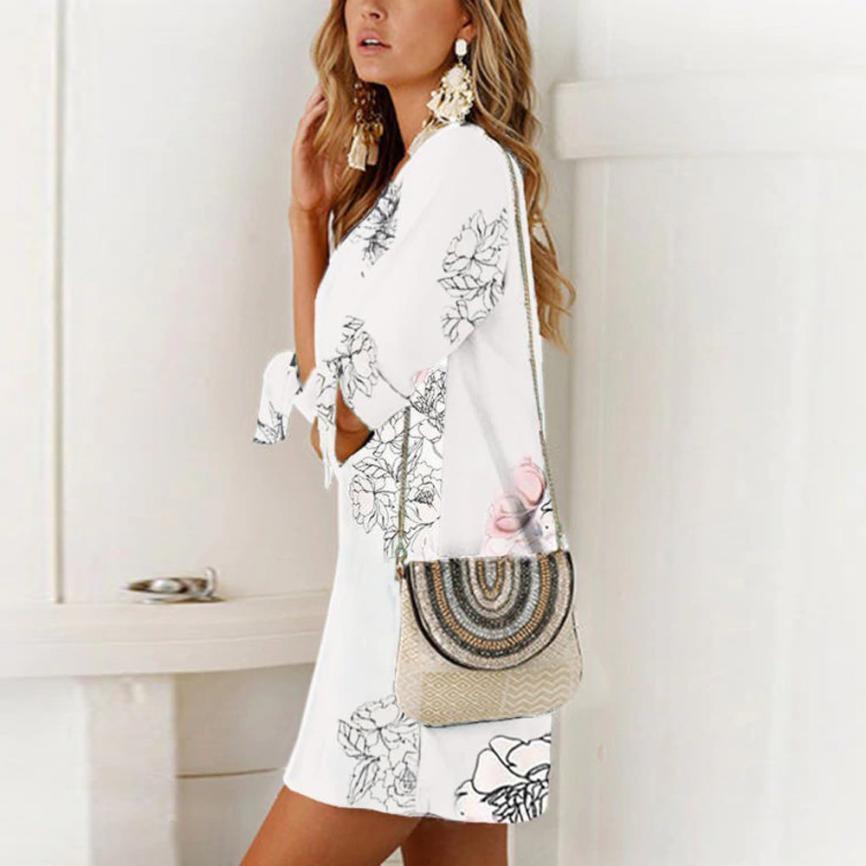 HTB18LSuFCBYBeNjy0Feq6znmFXaL KANCOOLD dress Women Summer Half Sleeve Bow Bandage Dresses Floral Striaght Casual Short Mini dress women 2018jul19