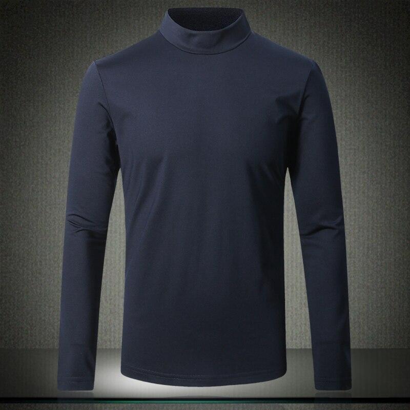 5XL T Shirt hommes 2019 nouveau mode col roulé Designer solide hommes T Shirt O cou à manches longues basique t-shirt grande taille M-4XL #8888