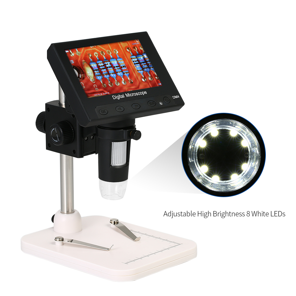 1000X 4.3 720P LCD Display Portable Microscope LED Digital Magnifier with Holder for Circuit Board Repair Soldering Tool