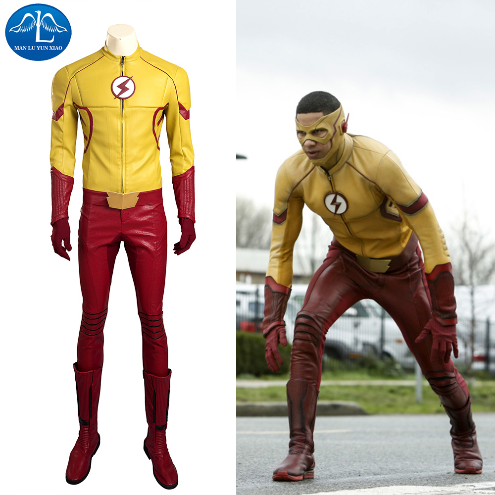 MANLUYUNXIAO le Flash saison 3 enfant Flash Costume de luxe en cuir tenue Halloween carnaval Cosplay Costume pour hommes sur mesure