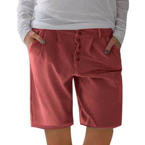 WOMAIL Shorts Pockets Linen Cool Cotton Fashion Casual And Red Solid Z30604 New-Product