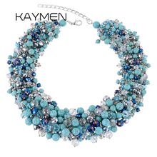 Фотография KAYMEN New Top Design Full Crystals by Handmade Statement Necklace for Women Wedding Party Unique Excellent Choker Necklaces