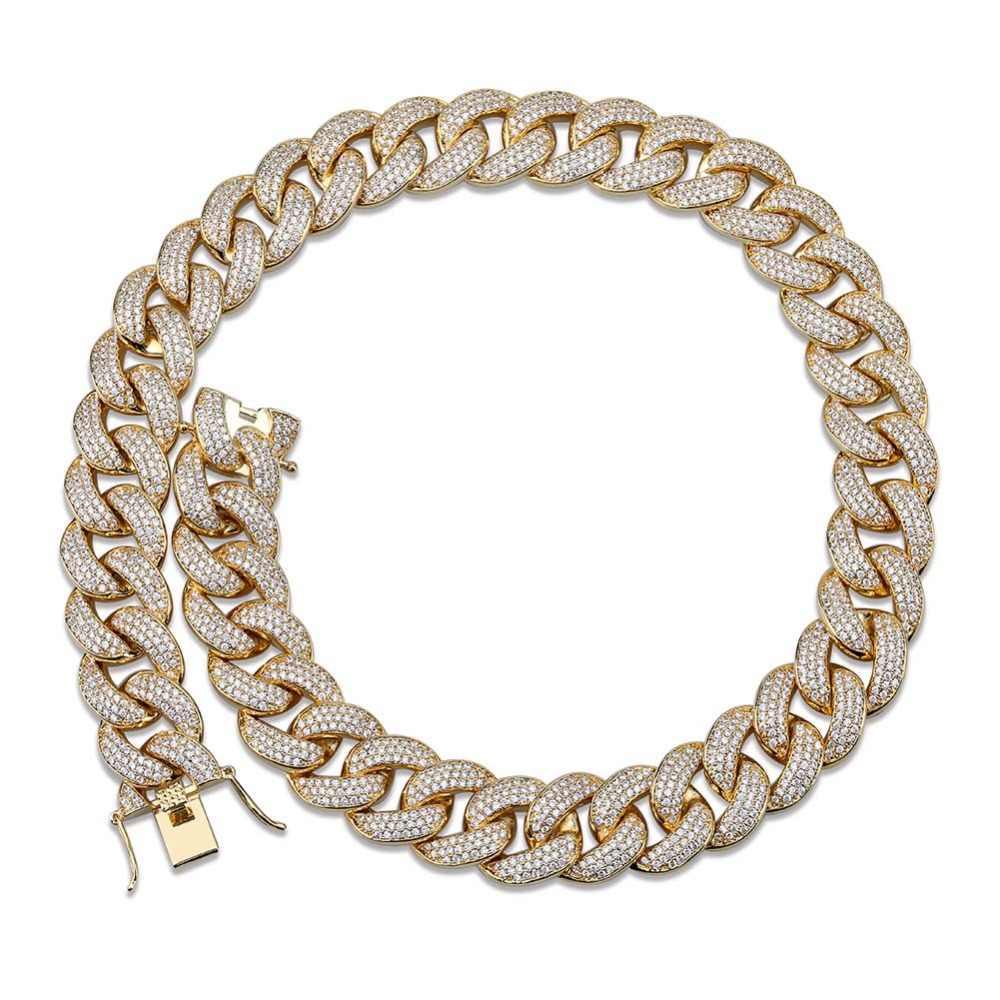 """Maimi kubański Link naszyjnik łańcuch męski hip hop złoty kolor Iced Out Cubic cyrkon naszyjniki biżuteria prezenty 16 """"-30"""""""
