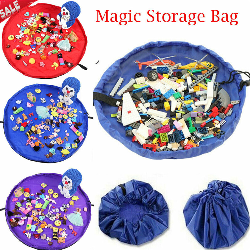 Waterproof Storage Bags Drawstring Bags Lace-up Foldable Kids Play Mat 150CM Toys Magic Storage Bags Organizer Rugs For Portable