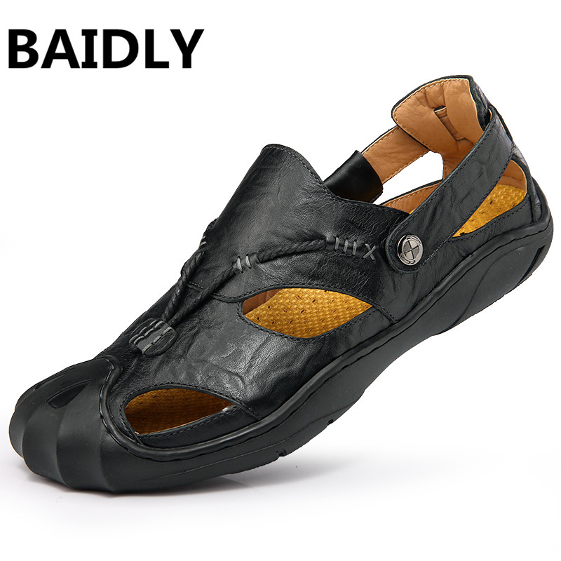 Baidly Genuine Leather Men Sandals Male Summer Breathable Sandals Mens Shoes Beach Sneakers Sandles Big Size Comfortable Feel Men's Sandals