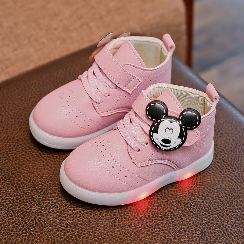 Kids Shoes With Light Led Girls Sneakers Autumn Winter Cartoon Light Boys Boots Mickey Shoes Sport Glowing Chaussure Led Enfant