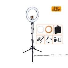RL-18 55 Вт 5500 К 240 LED Фотографическая освещение затемнения камеры Фото/Studio/телефон/видео фотографии кольцо свет лампы и штатив Стенд